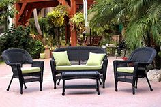 4Piece Black Wicker Patio Chair Loveseat  Table Furniture Set  Green Cushions ** Click image to review more details.  This link participates in Amazon Service LLC Associates Program, a program designed to let participant earn advertising fees by advertising and linking to Amazon.com.