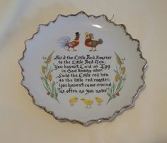 """Vintage """"Said the Little Red Rooster"""" Decorative China Plate  FREE SHIP"""