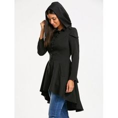 Layered Lace Up High Low Hooded Coat - BLACK S