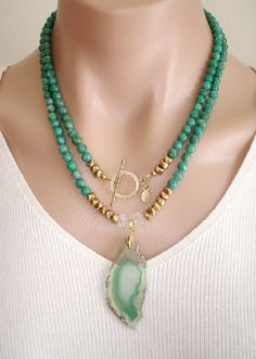 CLICK HERE TO BUY:  www.etsy.com/...    Ashira Russian Amazonite Gemstone Necklace with GF Toggle and Natural Druzy Geode Green White Agate Pendant. $335.00, via Etsy.