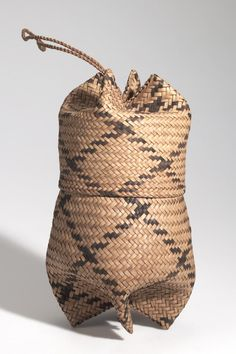 BASKET, POUCH/LID AFRICAN ETHNOGRAPHIC COLLECTION Catalog No: 90.0/ 693 AB Field No: 430 Culture: LOZI? (BAROTSE?) Locale: BAROTSELAND, LEALUI Country: ZAMBIA? Material: PLANT FIBER, CORD Dimensions: A) W:14 H:13 B) W:13 H:24 [in CM] Acquisition Year: 1907 [PURCHASE] Donor: DOUGLAS, RICHARD
