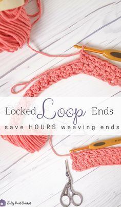 This incredible crochet #yarnhack will save you so much time weaving in ends crochet! No yarn needle required. | Locked Loop Ends Rows • Salty Pearl Crochet | #crochet #crocheting