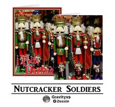 Christmas Nutcracker Soldiers Greeting Cards for the Holidays   by #I_Love_Xmas at Zazzle! #Gravityx9 Designs ~  Cards are available in three size options and you can customize with printed text message or family name - #christmascards #christmassoldier #nutcracker #nutcrackercard