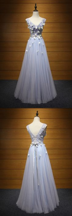 Only $169, Unique Bluish Grey Prom Dress Long With Beaded Flowers For Girls #AKE18100 at #SheProm. SheProm is an online store with thousands of dresses, range from Prom,Formal,Evening,Blue,A Line Dresses,Long Dresses,Customizable Dresses and so on. Not only selling formal dresses, more and more trendy dress styles will be updated daily to our store. With low price and high quality guaranteed, you will definitely like shopping from us.