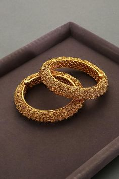 Gold Plated South Indian Temple Work High Grade Gold Tone Bangles - Set of 2 / Bollywood Jewelry / E The Bangles, Bridal Bangles, Gold Plated Bangles, Indian Gold Bangles, Indian Gold Jewellery, Gold Plated Jewellery, Gold Bracelet Indian, Egyptian Jewelry, Egyptian Art