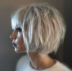 White blonde massy bob by Kylee Tangren