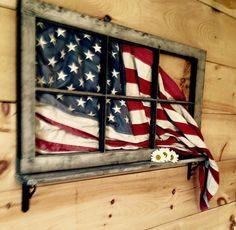 Framed flag for porch decor