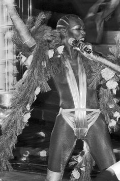 "loveandorgasm:  "" Grace Jones performing at Studio 54 on New Years Eve, 1977.  """