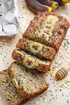 Sesame Chia Banana Bread with Honey and Tahini on Closet Cooking Healthy Banana Bread, Banana Bread Recipes, Banana Nut, Healthy Work Snacks, Healthy Recipes, Keto Snacks, Vegan Desserts, Dessert Recipes, Tahini Recipe