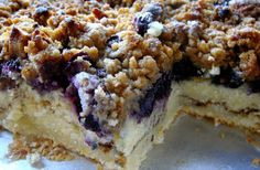 Ingredients    1/2 cup butter, room temperature  1 1/2 cup sugar  2 eggs  2 1/4 cups all-purpose flour, divided  1 tsp baking powder  1/2 tsp salt  1 cup milk  2 cups blueberries (fresh or frozen)  6 oz cream cheese, cubed    For the crumb topping:  1/4 cup all-purpose