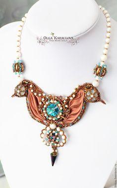 "Embroidery and beadweaving Shibori necklace . Statement necklace . Колье ""Танцующие морские коньки"" с шелковой лентой шибори - колье вышитое, колье шибори"