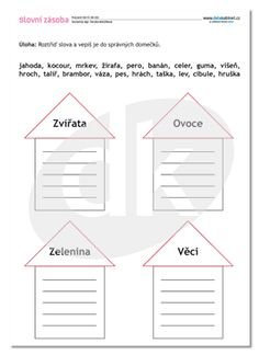 ČJ-DK 010 Slovní zásoba | datakabinet.cz Teaching English, Worksheets, Alphabet, Homeschool, Crafts For Kids, Language, Classroom, Activities, Education