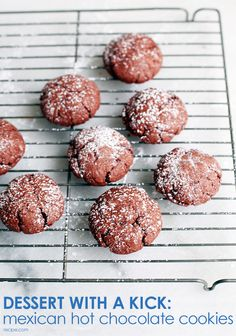 Cayenne and cinnamon give these rich Mexican hot chocolate cookies a subtly spicy kick. Top with powdered sugar for added flavor (and beautiful presentation!). #cookies #chocolate