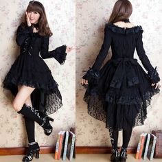 Black Lace Long Sleeve High Low Gothic Burlesque Prom Party Dresses SKU-11402662