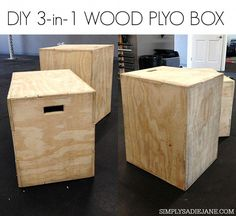 DIY wood plyo box - 3 different jumping levels Crossfit Equipment, Crossfit Box, No Equipment Workout, Crossfit Motivation, Motivation Quotes, Home Gym Garage, Diy Home Gym, Basement Gym, Home Gyms