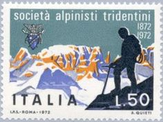 Mountaineer and the Brenta Lps, Mountain Pictures, Stamps, Europe, Landscape, Nature, Italia, Rome, Climbing