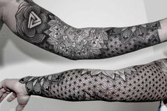 """18 Incredibly Intricate Geometric Tattoos - """"I have clients from all over the world; Australia, Africa, America, South America, and the Middl - Tattoos Bein, Leg Tattoos, Body Art Tattoos, Tribal Tattoos, Tatoos, Skull Tattoos, Geometric Sleeve Tattoo, Full Sleeve Tattoos, Geometric Tattoo Filler"""