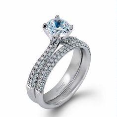 Simon G Diamond Twist Wedding Band | Simon G Diamond 18k White Gold Engagement Ring Setting and Wedding ...