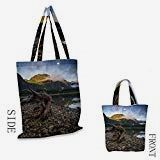 Shopping Bags for Home & Kitchen Driftwood Landscape of a Mountain Lake and Cloudy Sky Driftwood on Rocky Shoreline Eco-Friendly ReusableBlue and Brown - Driftwood 4 Us Driftwood Kitchen, Birthday Gift Bags, Shopping Bags, Beach Trip, School Bags, Home Kitchens, Eco Friendly, Mountain, Reusable Tote Bags