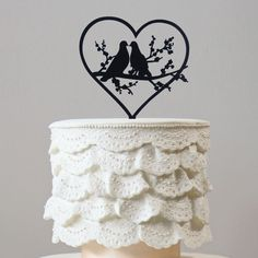 Engagement /Wedding Cake Topper (Romantic Birds Couple /Doves /Pigeons) - Features: - Romantic Birds Couple Cake Topper Decoration. - Simple and Elegant. - Perfect for the top tier of Engagement or We