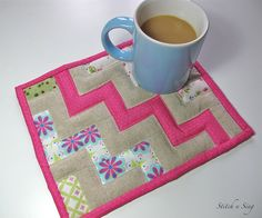 Really cute mug rug, room for a plate with a cookie too!