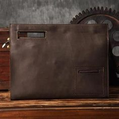 Vintage Style Leather Men Clutch iPad Case Messenger Bag Handbag in Coffee 14141