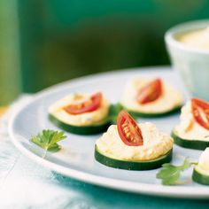 Cucumber Crackers with Hummus