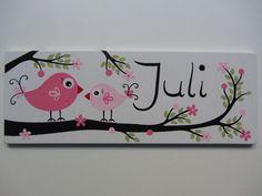 """Türschilder - Türschild ♥ Namensschild """"Vögel""""weiss - ein Designerstück von eulentraum bei DaWanda"""