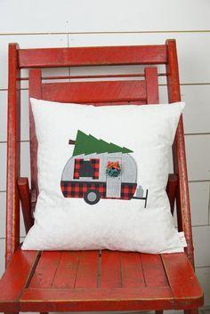 Vintage camper pillow christmas pillow by thelittlegreenbean