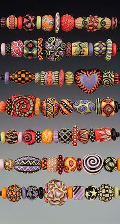 Polymer Clay Kunst, Polymer Clay Projects, Polymer Clay Creations, Polymer Clay Beads, Lampwork Beads, Ceramic Beads, Beaded Beads, Motifs Perler, Paper Beads