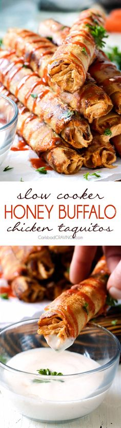 Super easy Slow Cooker Honey Buffalo Chicken Taquitos bursting with sweet heat cream cheese chicken filling you will want to eat it with a spoon! Perfect party appetizer that everyone will go crazy for or easy favorite meal! via @carlsbadcraving