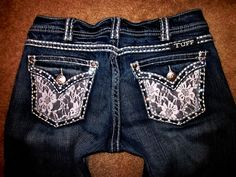 Buckle Cowgirl Tuff Crystal Studded Lace Flap Thick Stitch Bootcut Jeans 28 x 33   eBay