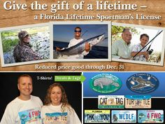 Surprise that special someone with a Florida wildlife license tag, a manatee or sea turtle decal or even a T-shirt. Gifts that provide year-round fun include Florida freshwater and saltwater fishing and hunting licenses. Best of all, from now till Dec. 31, the Lifetime Sportsman's License can be purchased for just $500 for children and young adults 5-21. Gov. Rick Scott signed an executive order authorizing the FWC to make this temporary fee reduction. Full story: http://ow.ly/F1Utn