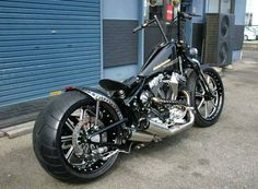 The first Harley Davidson motorcycle actually came from a blue print drawn by William S. Harley in That blueprint was meant for a bicycle. Softail Bobber, Bobber Bikes, Triumph Bikes, Custom Street Bikes, Custom Bikes, Custom Bobber, Custom Cars, Custom Harleys, Custom Motorcycles