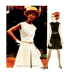 1960s Mod Vogue Fit & Flare DRESS PATTERN by Belinda Bellville @ DesignRewindFashions Vintage to Modern Sewing Patterns on Etsy