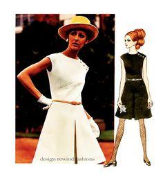 1960s Mod Vogue Fit & Flare DRESS PATTERN by Belinda Bellville @ DesignRewindFashions Vintage to Modern Sewing Patterns on Etsy