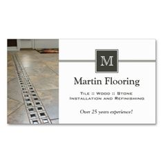 Shop Tile flooring custom monogram business card created by ItsAllBusinessCards. Personalize it with photos & text or purchase as is! Custom Business Cards, Professional Business Cards, Business Card Design, Photographer Business Cards, Photography Business, Construction Business Cards, Wood Tile Floors, Text Style, All You Need Is