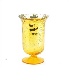 5.5 Decorative Yellow and Silver Mercury Glass Votive Candle Holder
