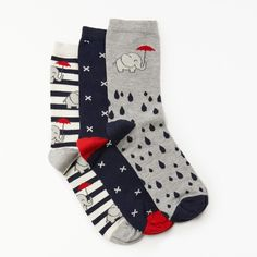 John Lewis Elephant In The Rain Ankle Socks (£8) ❤ liked on Polyvore featuring intimates, hosiery, socks, john lewis, john lewis hosiery, patterned socks, patterned ankle socks and tennis socks