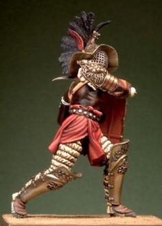 Roman Gladiator Thraex Gladiators Of Rome, Roman Gladiators, Diorama, Gladiator Arena, Warrior Concept Art, Unique Braided Hairstyles, Roman Warriors, Roman Era, Fantasy Miniatures