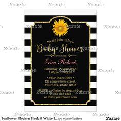 Sunflower Modern Black & White Stripes Baby Shower