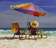 beach scene with chairs