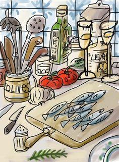 Ya vienen las sardinas, by Mariscal