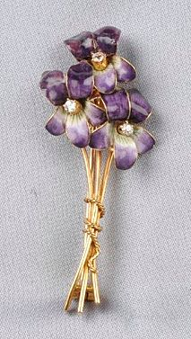 Art Nouveau 18kt Gold and Enamel Flower Brooch, each blossom with old mine-cut diamond center, 4.7 dwt, lg. 2 in.
