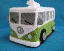 Transporter Camper Van Volkswagen VW Bus T1 Crochet Tissue Box Cover Handmade Hippie Style