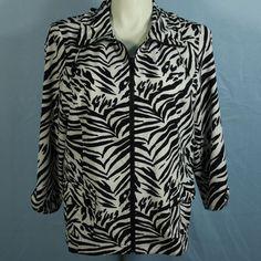 Zenergy Chico's 3 XL Black White Zebra 3/4 Sleeve Light Weight Travel Jacket  #ChicosZenergy #Windbreaker