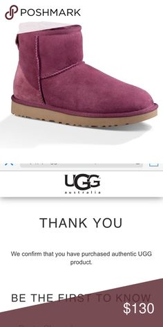 Ugg Classic Mini II BOUG Sz 9W New with / in box  Women's size 9  Color: Bougainvillea, model 1016222.    The Classic Mini is an icon of casual style. Now pretreated for protection from water and staining, this luxurious sheepskin boot has also been updated with the Treadlite by UGG™ sole, which provides increased cushioning, durability, and traction.   QR code & hologram on left boot.  Authentic, purchased by me from UGG.   Will ship same/next day of purchase. UGG Shoes Winter & Rain Boots