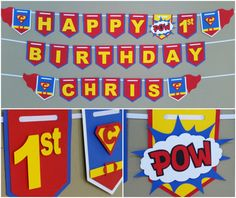 Superman Happy Birthday Party 1st Boy Banners
