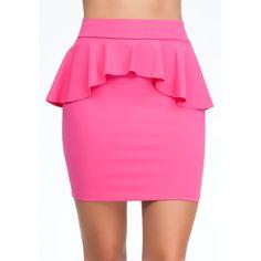 Bebe Peplum Pencil Knit Skirt ($69) ❤ liked on Polyvore featuring skirts, bottoms, saias, pink, fuschia purple, flare skirt, high waist knee length pencil skirt, pink skirt, bebe and knee length pencil skirt