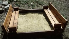"""Children's Sandbox with Bench Seats...and it folds """"closed"""" to protect the sand from animals and keeps out leaf debris, etc.  AWESOME!!!  (site gives project details and material list...and shows the sandbox in the """"closed"""" state.)"""
